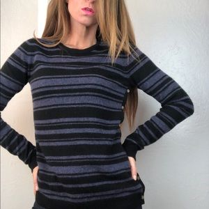 THEORY Cashmere Striped Crewneck Sweater Small